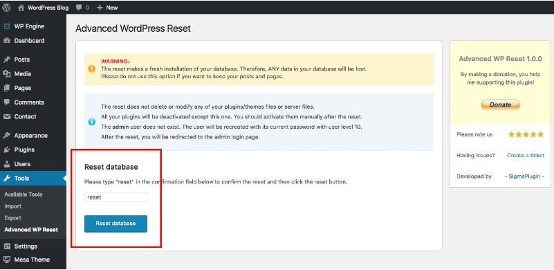 resetear wordpress base de datos