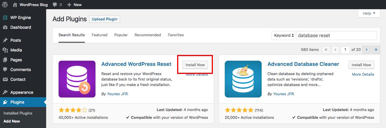 resetear wordpress